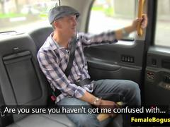 Busty english cabbie sucks off famous client