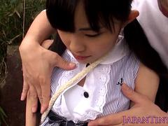 Tiny japanese thighfucked outdoors