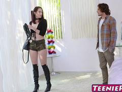 Gorgeous Riley Renee takes a pounding until a creampie