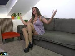 Attractive Hungarian MILF masturbating with a hitachi