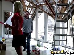Slutty blonde gives nice head to this horny grandpa