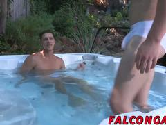 Outdoor jacuzzi sex with two big stiff dick hunks fucking