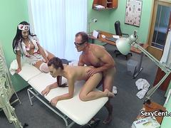 Doctor fucks patient and nurse