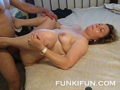 Amateur mom with big boobies gets rammed at home