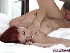 Redhead babe anally fucked and jizzed on ass