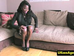 Ebony casting babe throated during audition