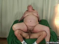 Fat granny seducing her young stepson and blows and ride his cock