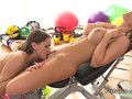 Lesbian rimming sex at the gym