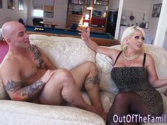 A cutie pie is having a heavy petting with her handsome lover when her stepmom steps in