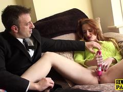 Squirting british redhead being fingered