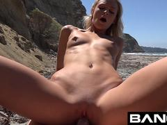 BANG College Teen Emma Gets Creamy On The Beach