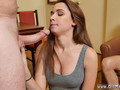 A brunette sweet looking doll loves gobbling that old cock while her grandpa is watching the action
