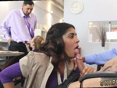Two secretaries are getting nailed in the office by their bosses