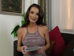 Big breasted milf jerking a huge cock and sucking it deep in pov