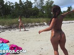 Latin Lesbos Spicy J and Miss Raquel on the Beach