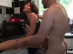 Huge tits milf gives a head to her step son and then get it on with his huge cock