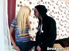 Blonde step sister gets roughly fucked by her horny step brother who could not wait much longer to bang her
