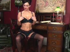 Hot busty mature slut in sexy lingerie stripping down in her office teasing on webcam and masturbating