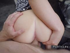 Amarican brunette loves sex in public