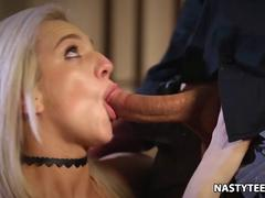 Blonde young American chick desires to get a taste of that large pecker in her mouth and then to get it between her legs