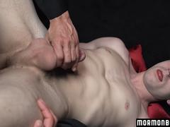 A boy gets to a mob leader and gets spanked by him and amde to jerk his cock off for him