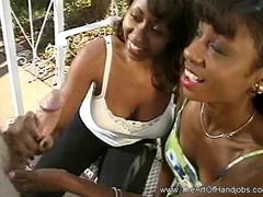 Two Blacks Girls One White Dick Handjob and Cumshot