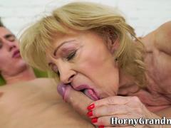 Mature granny loves sucking off young cocks