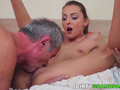 Young beauty is thrilled to blow that massive shaft and get bonked in numerous poses by this handsome old gentleman