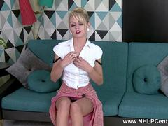 Petite babe Chloe Toy strips and wanks in vintage beige nylons and stiletto heels