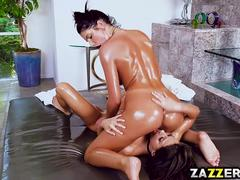 Madison Ivy massage and drenched August Ames in oil