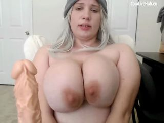 GIGANTIC BOOBS BBW TEEN CAM GIRL sucking a dildo pt one