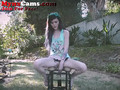 Petite Teen Rides Dildo Chair Outside