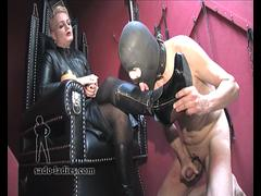 Old femdom slut making her slave to cum on her feet