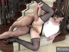 Kinky shemale Natalie Mars in pantyhose gets her ass boned