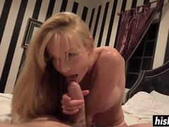 Kayden Kross sucks on a nice cock