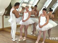Vivid.com - 3 slutty ballerinas get on their knees to suck the instructor