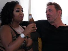 Busty Ebony Layton Benton fucks in fishnet tights