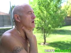 Old man fucks her much younger lover, Lulu Love