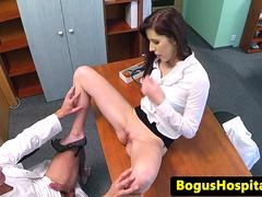 Classy redhead orally pleased by her doctor