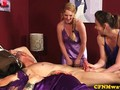 Dicksucking CFNM babes make cock spray cum