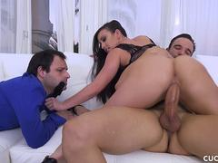 She Shows Off All Her Skills While Her Cuckold Husband Watches