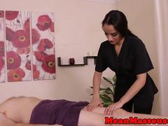 Dominating masseuse tugs her mummified client