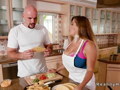 Huge tits Milf Latina bangs in kitchen