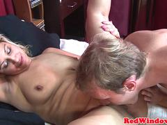 Euro hooker pussylicked before jerking trio