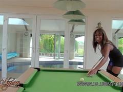 Ebony lesbian babes play pool game loser has to lick pussy and fuck big toy with nylons on