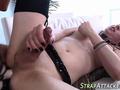 Strapon banged tgirl cums