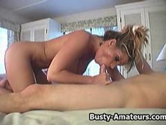 Busty amateur Tera sucking and fucking cock on the bed