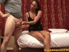 CFNM babe teases guys balls during handjob