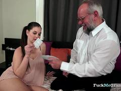 Sexy Chick Enjoys Grandpa's Cock