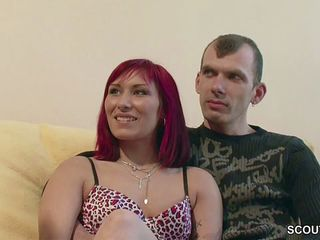 German MILF Teach Young Couple with Redhead Teen to Fuck